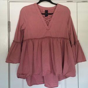 Dusty rose peplum bell sleeve blouse